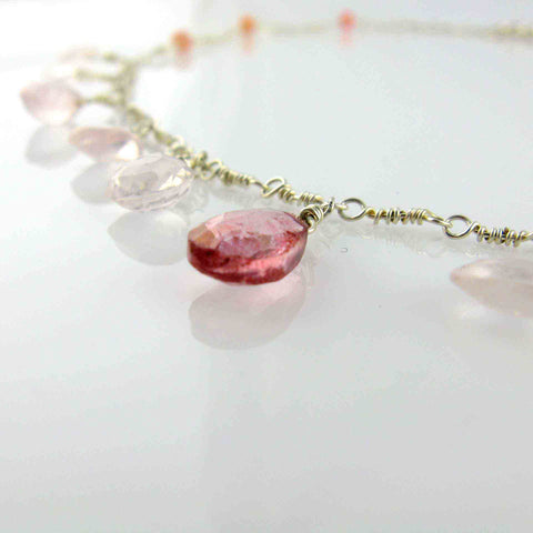 White Cloud Creations, Joseph Cozad, Necklace N14585, Pink And Mystic Rose Quartz With Argentium Silver, Beaded, Hypoallergenic, Handcrafted Necklace Detail