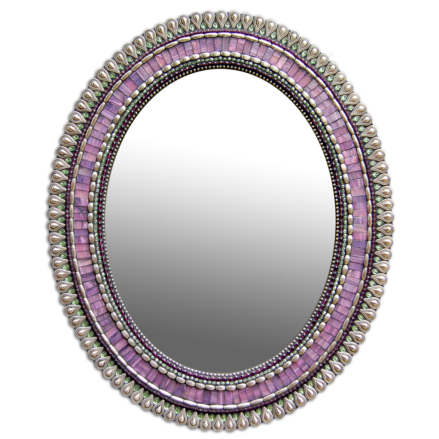 Mosaic Oval Mirror in Purple Drop by Zetamari, Angie Heinrich