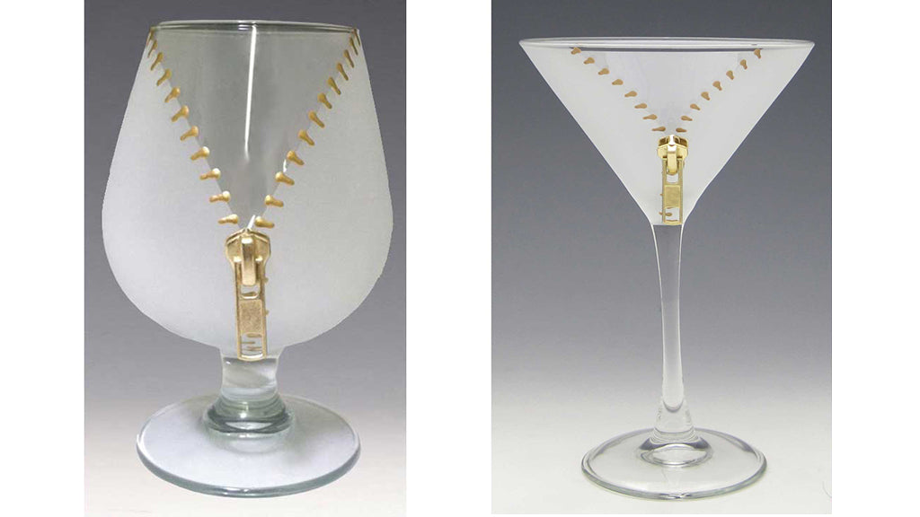 Zipper Brandy and Martini Glasses by artist, designer Kathryn Gooding, Asta Glass