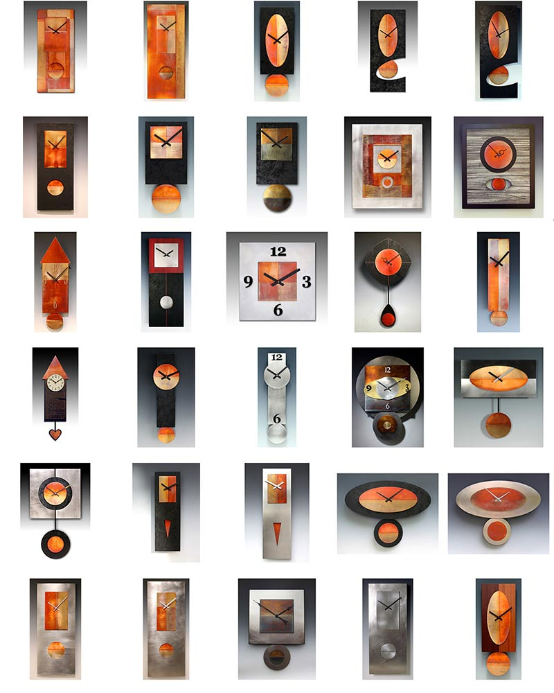 Leonie Lacouette Clocks, Copper, Steel, Wood Wall Clocks, Pendulum Clocks, Artistic Clocks 1