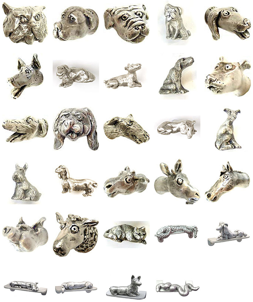 Whimsical, sculptural animal and figure door and cabinet hardware pulls and knobs by Rosalie Sherman
