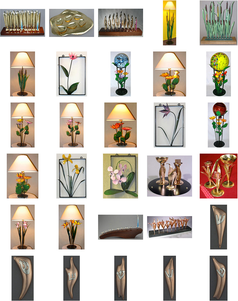 Steven Cooper, Metalsmith, Product Group Image, Flower Stakes, Judaica, Lamps, Wreaths