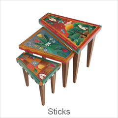Sticks Tables, Hand Painted Artistic Tables with Inspirational Words & Phrases