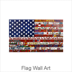 Artistic Wood Wall Flags, Hand Painted Folk Art Flags, Americana Flags