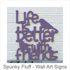 Spunky Fluff Artistic Cut Out Wood Signs, Inspirational Word Art for Your Wall, Multi-Dimensional Mixed Media Wall Art