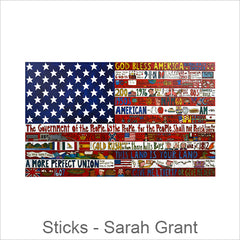 Sticks Plaques, Wall Art, Flags, Hand Painted Artistic Wall Art, Americana Flags, with Inspirational Words & Phrases