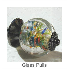 Artistic Glass Cabinet Hardware, Pulls, Handles, Contemporary Artisan Designer Hand Blown Glass Cabinet Hardware
