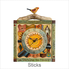 Sticks Clocks, Hand Painted Artistic Clocks with Inspirational Words & Phrases