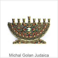 Michal Golan Judaica, Menorahs and Mezuzahs, are handmade with Swarovski Crystals, Glass Beads, and Brass Electroplated 24K Gold, Artistic Designer Judaica