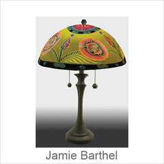 Jamie Barthel Reverse Painted Glass Table and Floor Lamps