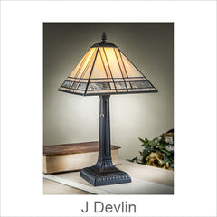 J Devlin Glass Art, Tiffany Style Lamps, Mission & Modern Styled Stained Glass Lamps, Designer Kathy Gustafson