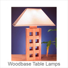 Artistic Wood Base Table Lamps, Contemporary Artisan Designer Table Lamps