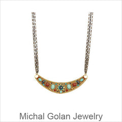 Michal Golan Jewelry is handmade with Swarovski Crystals, Glass Beads, and Brass Electroplated 24K Gold, Artistic Designer Jewelry