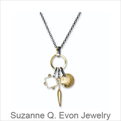 Suzanne Q. Evon, Q Evon Jewelry Design, Gold, Silver, Argentium, and Custom-Cut Stone, Contemporary Artistic Jewlery