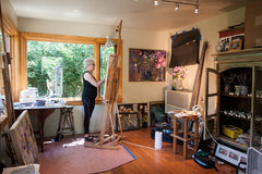 Lila Bacon Artist, Painter in her Woodstock, NY Studio