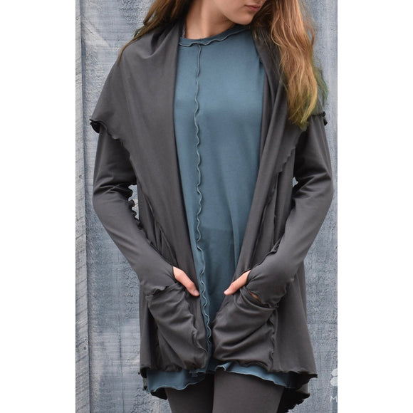 Angelrox Clothing Cardigan Shown In Iron Designer Clothing Apparel Art Wear