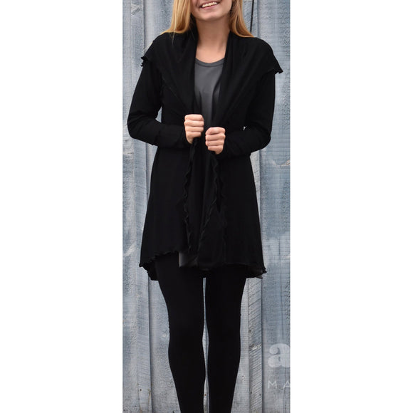 Angelrox Clothing Cardigan Shown in Black Designer Clothing Apparel Art Wear