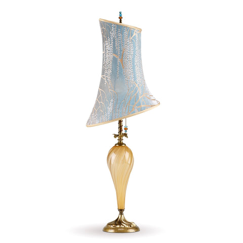 Kinzig Design Anika Table Lamp 151 H 130 Colors Gold Opaque Blown Glass With Robin's Egg Blue And Taupe Silk Shade Artistic Artisan Designer Table Lamps