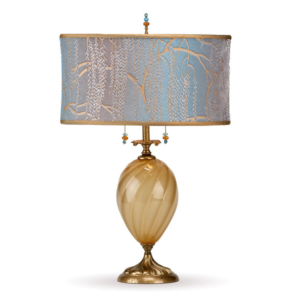 Kinzig Design Ashton Table Lamp 155 AF 130 Colors Gold Opaue Blown Glass Base With Robins Egg Blue And Taupe Silk Shade Artistic Artisan Designer Table Lamps