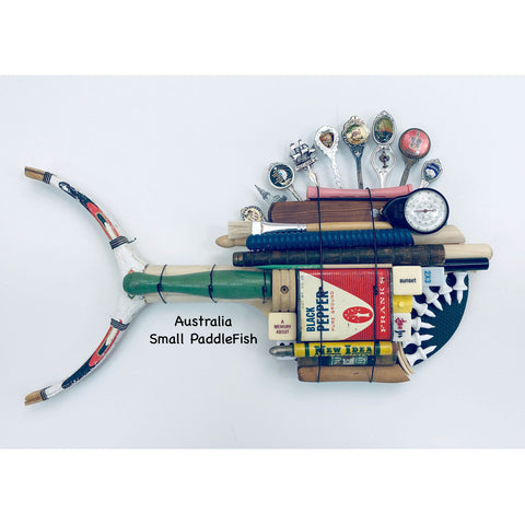 Australia Small Ping Pong PaddleFish with Spoons Fin Fish Wall Art Sculpture by Stephen Palmer Running Dog Studios