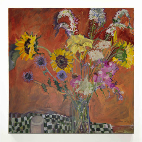 Lila Bacon Floral Painting on Canvas My Garden's Array C-LB180