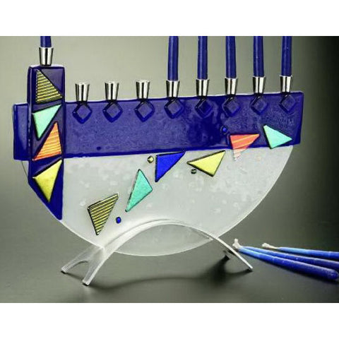 Menorah Mosaic Blue JM25 by Beames Designs