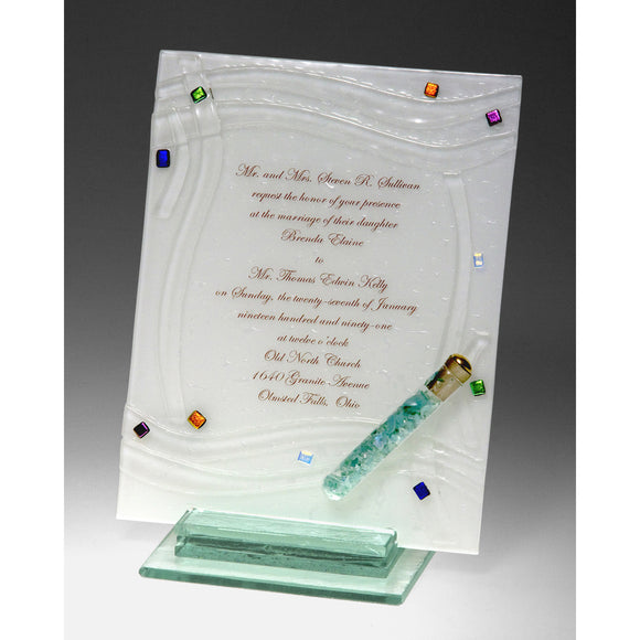 Beames Designs Invitation Piece Woven with Shards INV2, Artistic Artisan Designer Judaica