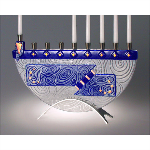 Menorah Nova Cobalt Blue JM50 by Beames Designs