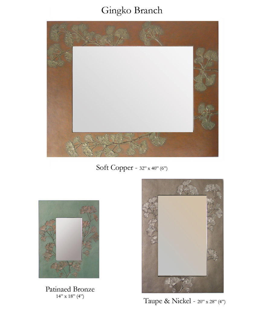 Deborah Childress Blindspot Mirrors Ginkgo Branch Square and Rectangular Mirrors, Artistic Artisan Designer Mirrors