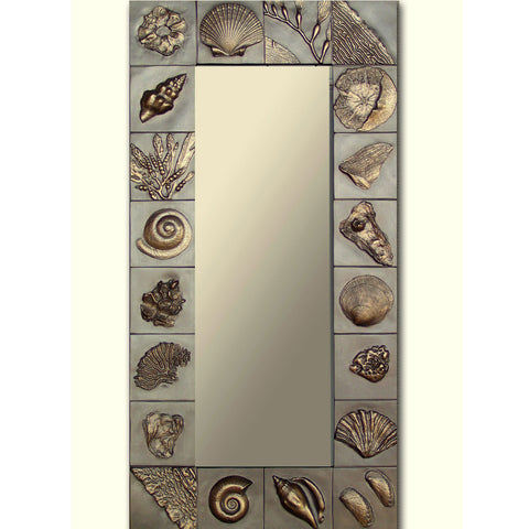 Blindspot Mirror by Deborah Childress Beach in Winter Mirror Shown in Taupe and Gold Artistic Artisan Designer Mirrors