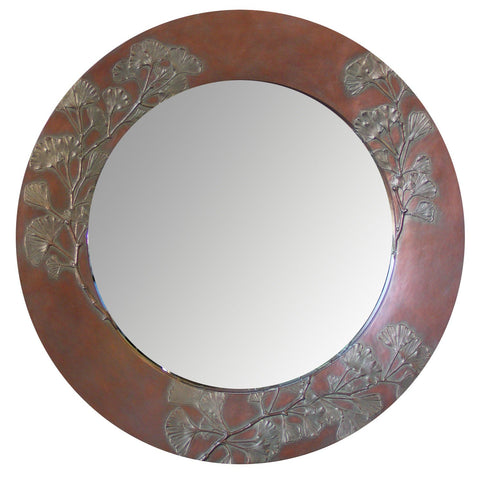 Ginkgo Branch Round and Oval Mirror, Blindspot Mirrors by Deborah Childress