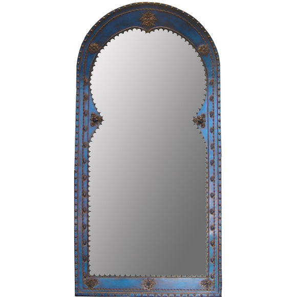 Blindspot Mirror by Deborah Childress Moroccan Mirror Shown in Sapphire Artistic Artisan Designer Mirrors