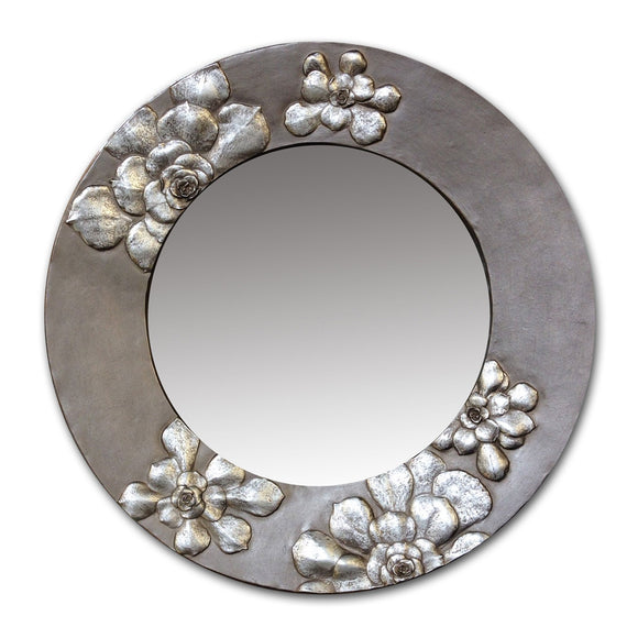 Blindspot Mirror by Deborah Childress Succulent Mirror shown in Warm Silver Artistic Artisan Designer Mirrors