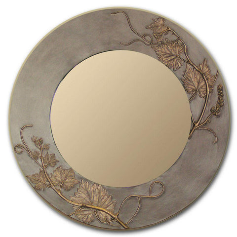Blindspot Mirror by Deborah Childress Textured Grapevine Mirror Shown in Taupe Gold Artistic Artisan Designer Mirrors