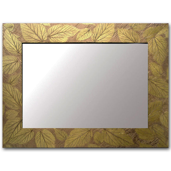 Blindspot Mirror by Deborah Childress Textured Mulberry Leaf Mirror Shown in Bright Olive Artistic Artisan Designer Mirrors