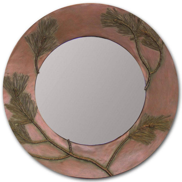 Blindspot Mirror by Deborah Childress Textured Pine Bough Mirror Shown in Soft Copper Artistic Artisan Designer Mirrors