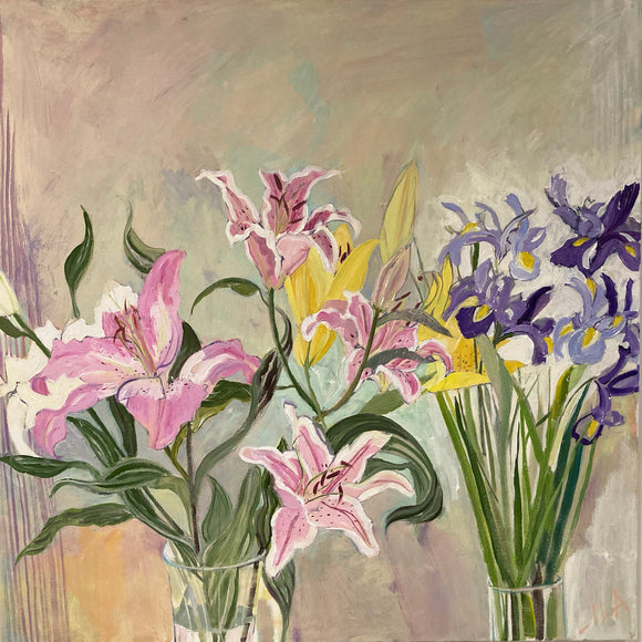COVID Birthday Flowers C-LB328 Painting by Lila Bacon 04-2020 30x30