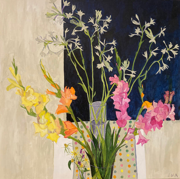 C-LB347 COVID Gladiola 08-2020 36x36 Acrylic Flower Paintings by Lila Bacon