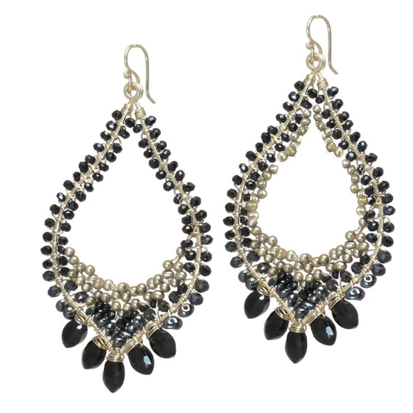 Calico Juno Designs Black Onyx Spinel and Bronze Pearls Earrings LB245 Artistic Artisan Designer Jewelry