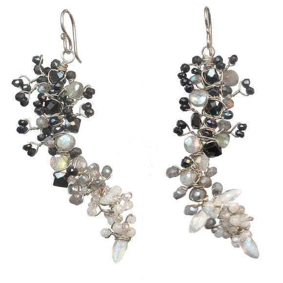 Calico Juno Designs Black Spinel Labradorite Pearl and Moonstone Earrings GNV104 Artistic Artisan Designer Jewelry