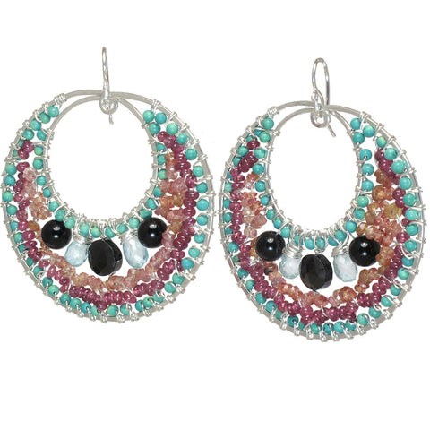 Calico Juno Designs Black Spinel Turquoise Mandarin Garnet and Pink Ruby Earrings B144 Artistic Artisan Designer Jewelry