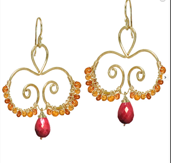 Calico Juno Designs Carnelian and Ruby Earrings LB117 Artistic Artisan Designer Jewelry