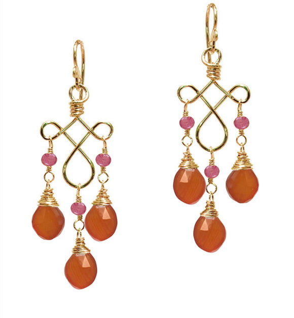 Calico Juno Designs Carnelian and Spinel Earrings G62 Artistic Artisan Designer Jewelry