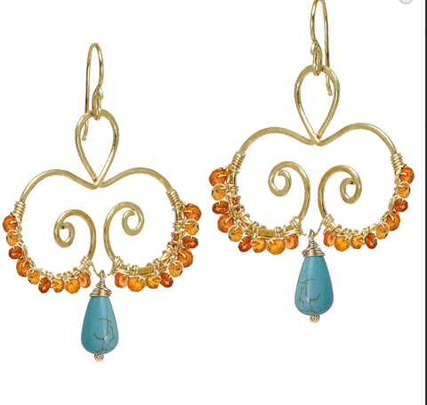 Calico Juno Designs Carnelian and Turquoise Earrings LB118 Artistic Artisan Designer Jewelry