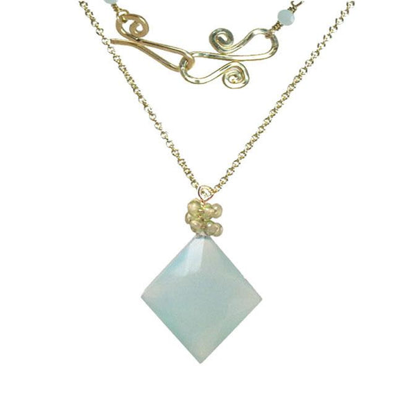 Calico Juno Designs Chalcedony and Peridot Necklace NK304 Artistic Artisan Designer Jewelry
