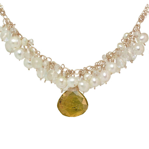 Calico Juno Designs Citrine and Pearl Necklace NK293 Artistic Artisan Designer Jewelry