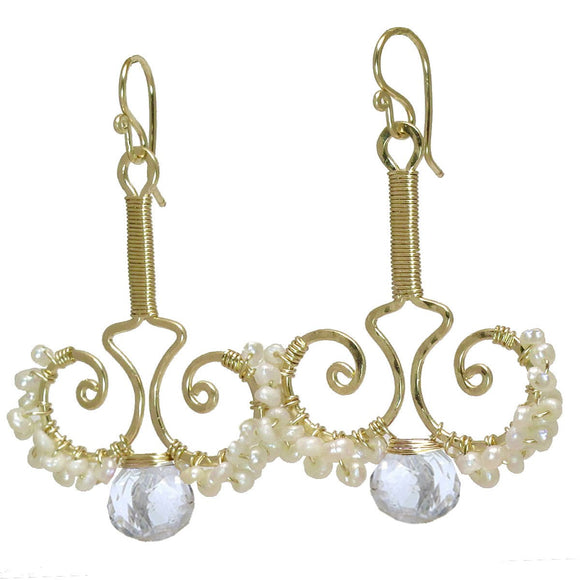 Calico Juno Designs Crystal Quartz and Pearl Earrings N79 Artistic Artisan Designer Jewelry