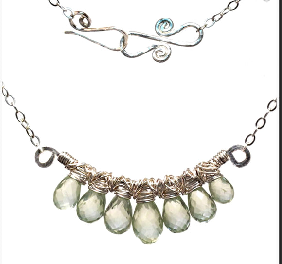 Calico Juno Designs Green Amethyst Necklace NK236 Artistic Artisan Designer Jewelry