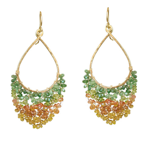 Calico Juno Designs Green and Orange Tourmaline Earrings LB42 Artistic Artisan Designer Jewelry