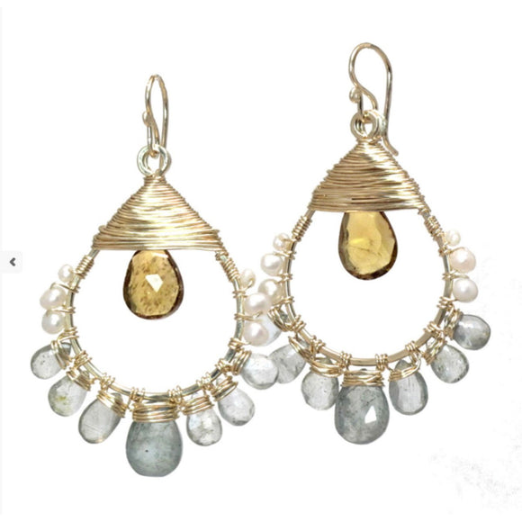 Calico Juno Designs Ivory Pearls Moss Aquamarine and Whiskey Quartz Earrings SRN191 Artistic Artisan Designer Jewelry